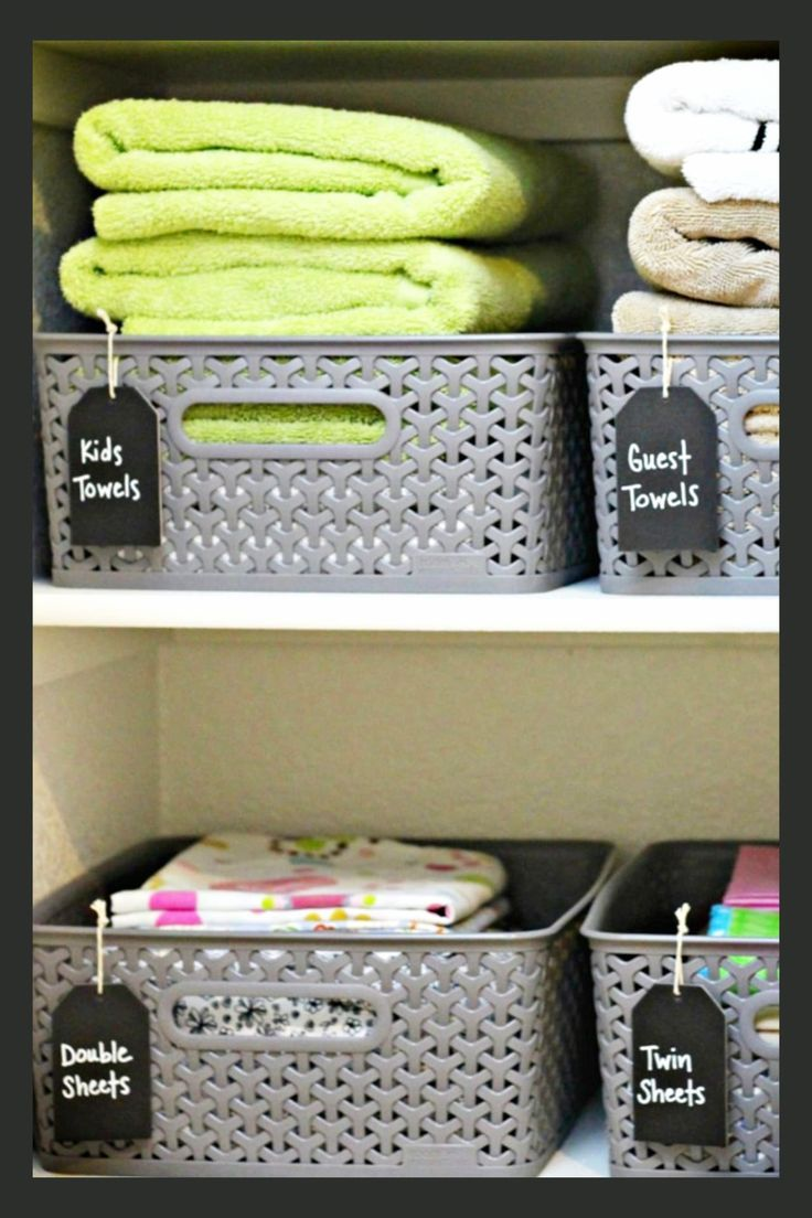 Organizing With Baskets Use Cheap Dollar Tree Or Dollar Stores Baskets To Organize Your Linen Cl Organizing With Baskets Room Storage Diy Laundry Room Baskets