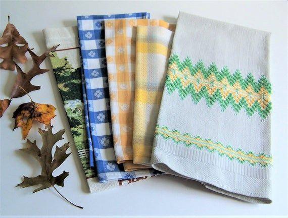 Vintage Kitchen Towels Lot Of 5 Autumn Colors Linen Tea Towels