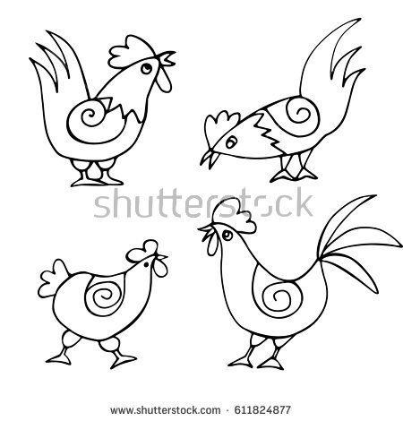 A set of doodles of funny chickens and roosters drawn by hand. Birds isolated on white background. Painted vector illustration