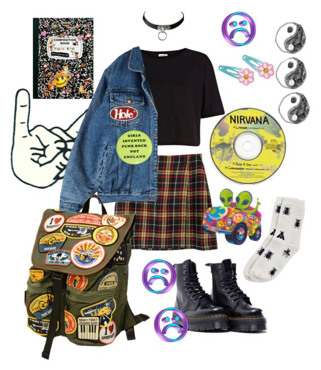 """PUNK SCUM"" by matissex ❤ liked on Polyvore featuring Dr. Martens, River Island, Monki, Clips, sad, Punk, grunge, 90s and Street"
