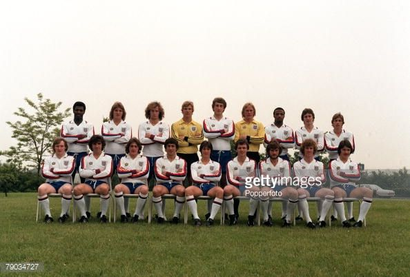 Sport, Football, 1979, The England Under 21 squad pose together for a group photograph, Back Row L-R: Luther Blissett, Russell Osman, Billy Gilbert, Chris Woods, Terry Butcher, Gary Bailey, Cyrille Regis, Bryan Robson, Gordon Cowans, Front Row L-R: Derek Statham, Kevin Reeves, Gary Owen, Kenny Sansom, Steve Williams, John Deehan, Glenn Hoddle, Graham Rix and Billy Wright