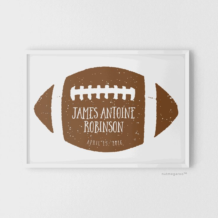 Football personalized birth stats baby boy nursery art print