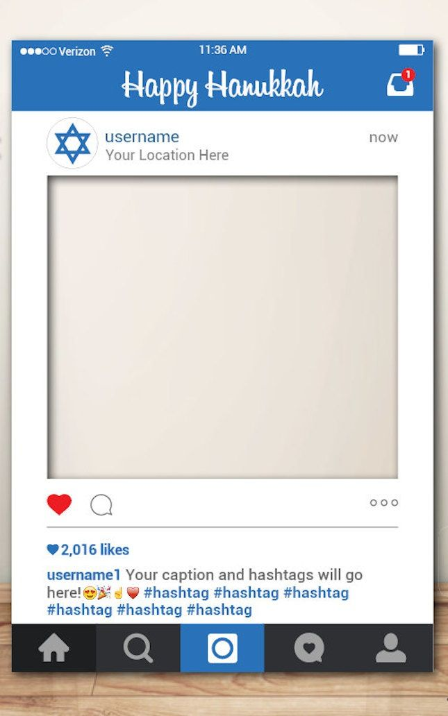 Upgrade your holiday decor with this Happy Hannukah Instagram frame.