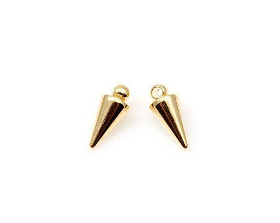 2pcs  High Polished Gold Cone Stud Pendant / Brass / 16K gold
