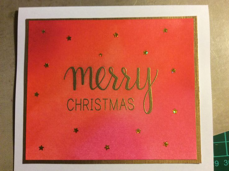 Christmas 2016 - coloured with Distress Inks. Hero Arts Merry Stamp and Die set sentiment stamped with gold embossing powder