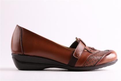 Edik Kadın Taba Ortopedik Mikrofiber Deri Comfort Anne Ayakkabısı
