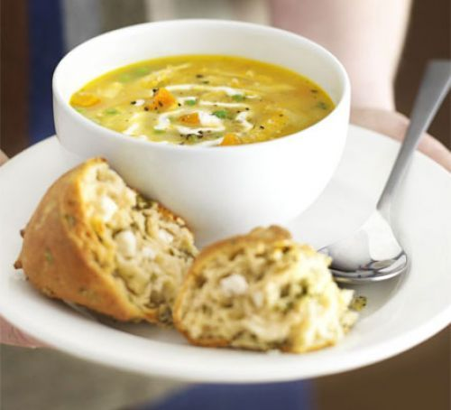 "Roast chicken soup - ""Use up leftover chicken in this rustic soup with garlic cream and cheesy scones on the side"""