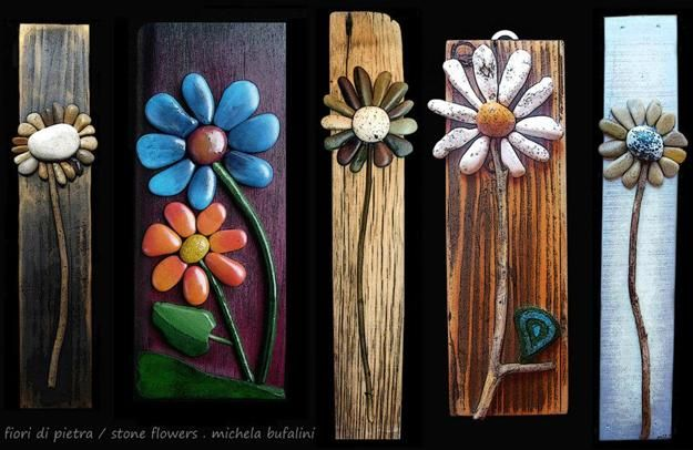 Rock Art On Wood Ideas Flowers