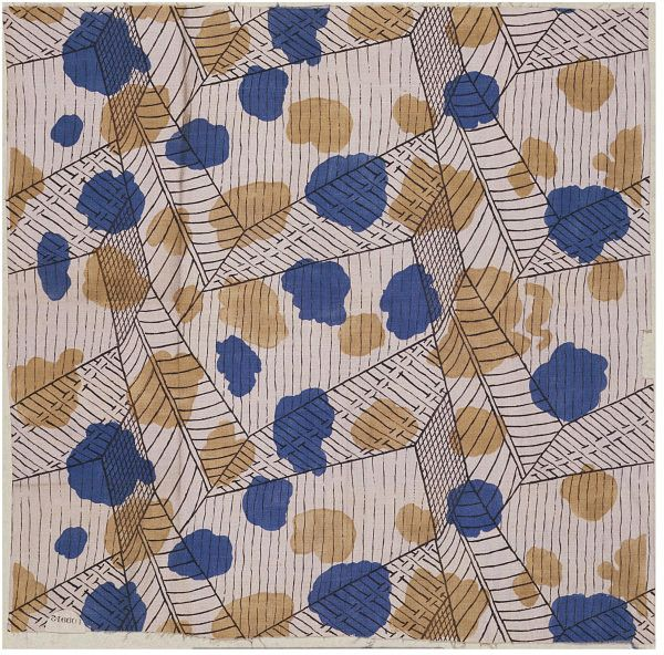 This printed linen furnishing fabric was designed and sold by The Omega Workshops Ltd. Founded in 1913 by Roger Fry, Omega Workshops was a group of artists (including Vanessa Bell and Duncan Grant) who designed furniture, pottery, carpets, textiles, stained glass and whole schemes of interior decoration. The Omega textile designs were ahead of their time and set a fashion for abstract and geometric patterns like this one.