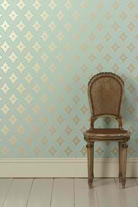 Aqua gold wallpaper - bathroom