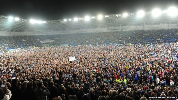 Cardiff City fans celebrate first promotion to Premier League