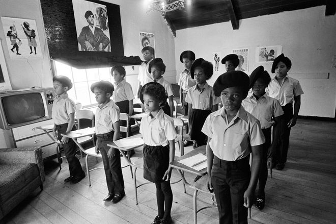Children of Black Panthers attend school at the Children's Institute in Oakland, Calif. After numerous police shootouts at Panther offices and houses, the Panthers decided their children should live in a separate house, away from the adults, to ensure their safety.