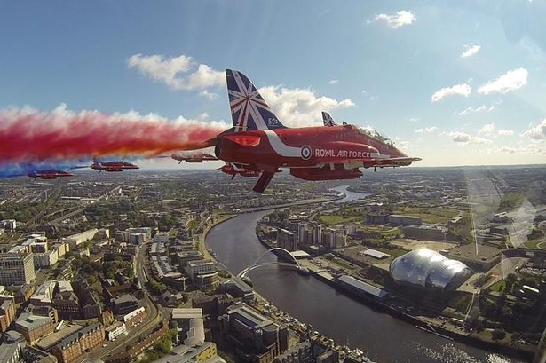 The view from Flt Lt Martin Pert's Red Arrow's Red 8 cockpit as the display team flew over the Tyne Bridge for the Great North Run 2014