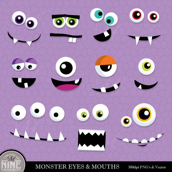 MONSTER EYES & MOUTHS Clip Art: Digital Clipart, Instant Download, Monster Faces Clipart Vector Art Party Graphics