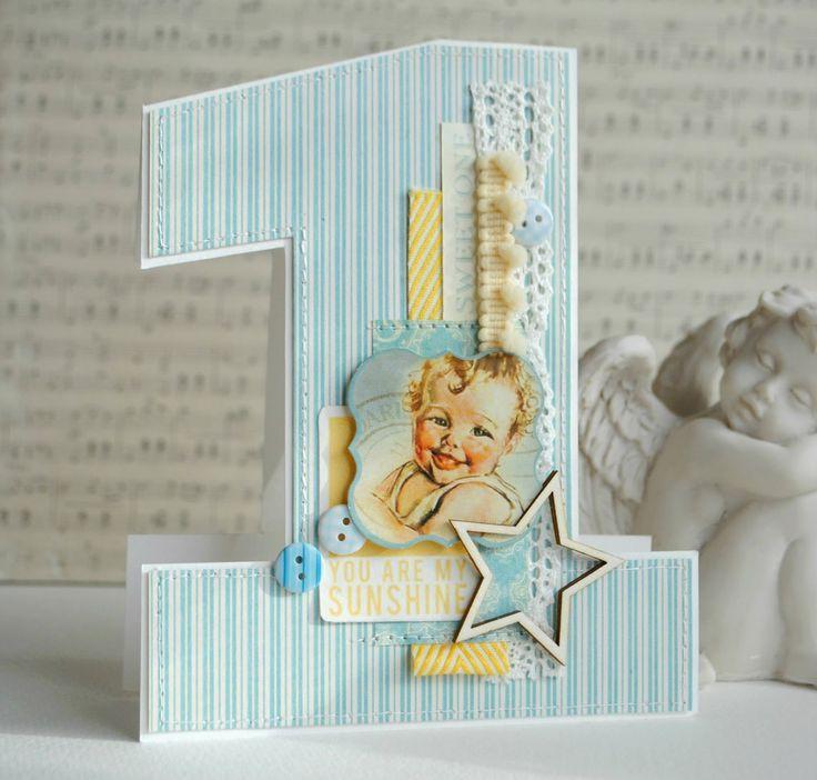 Открытка, скрапбукинг открытка на день рождения 1 годик