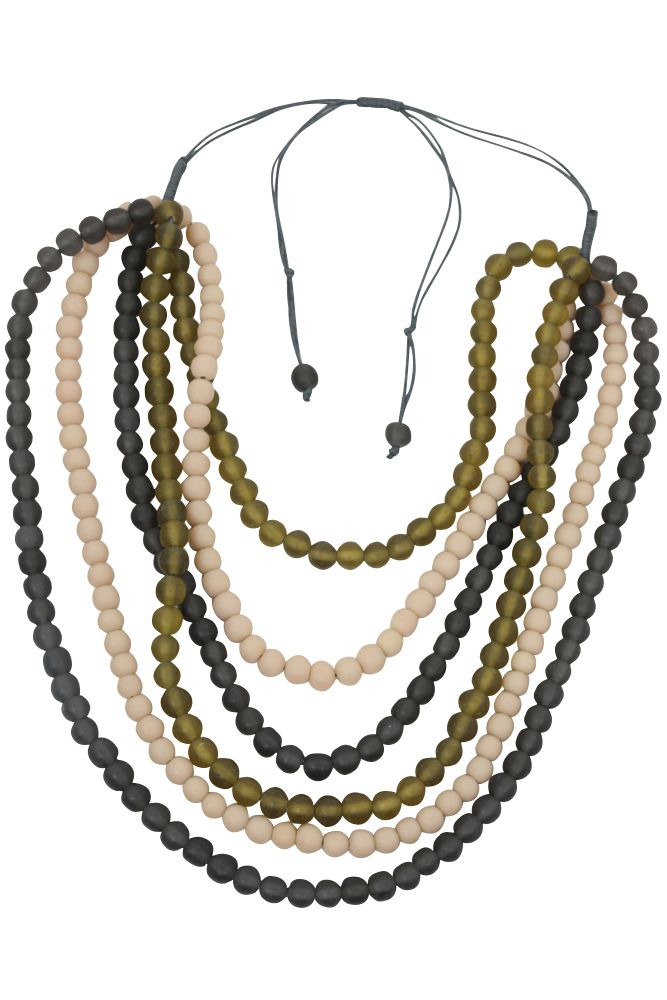 Tana Necklace from Eb&Ive features resin beads and is available from www.bohemianliving.com.au in Cactus and Orchid.