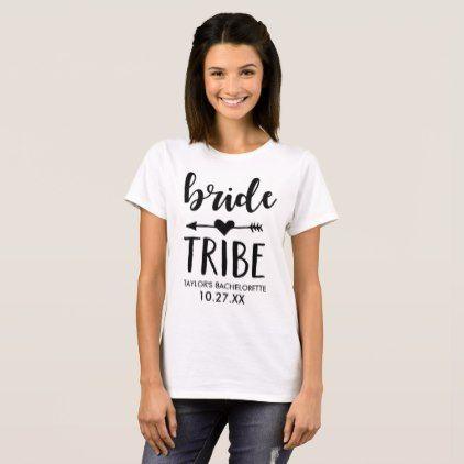 #Bride Tribe Personalized Bachelorette T-Shirt - #Bachelorette #T-shirts #Bride #Squad #Teambride