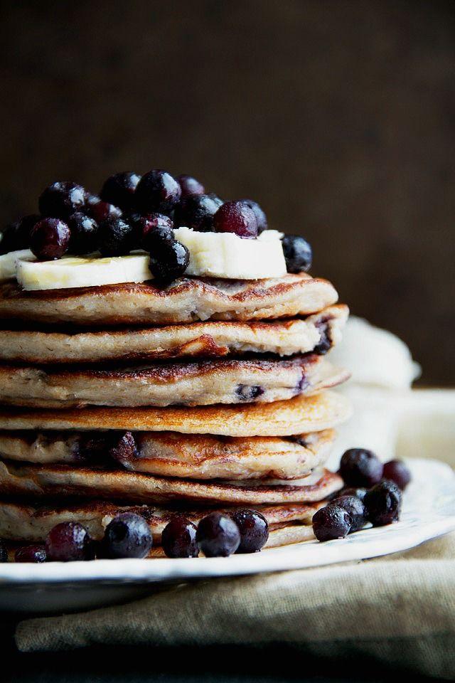 Blueberry banana greek yoghurt pancakes