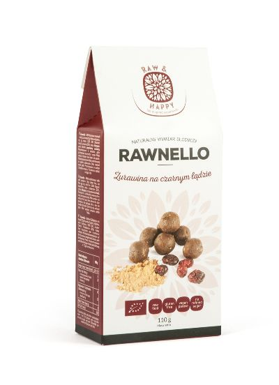 Żurawina na czarnym lądzie Rawnello Bio, 110 g - Raw And Happy Food