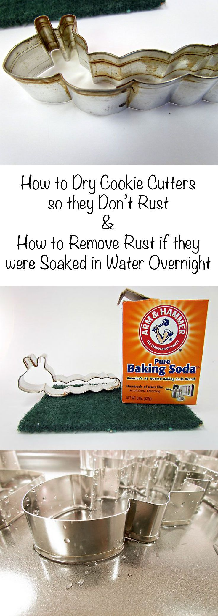How to Dry Cookie Cutters and How to Remove Rust if they were Soaked in Water Overnight by www.thebearfootbaker.com More