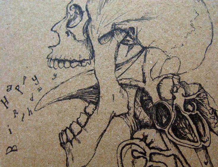 Skull drawing creepy gothic happy birthday card by Mireog ...