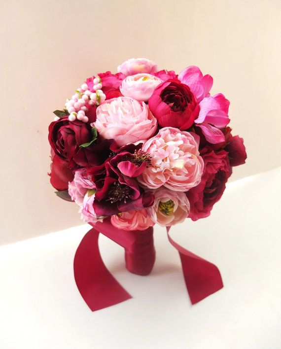 Red Peony and Ranunculus Bouquet Bridal Bouquet by LoveMimosaFleur, $85.00