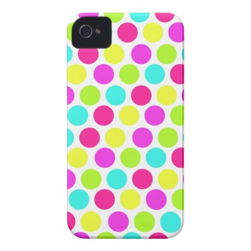 Girly Colorful Polka Dots Pattern for Girls iPhone 4 Cases