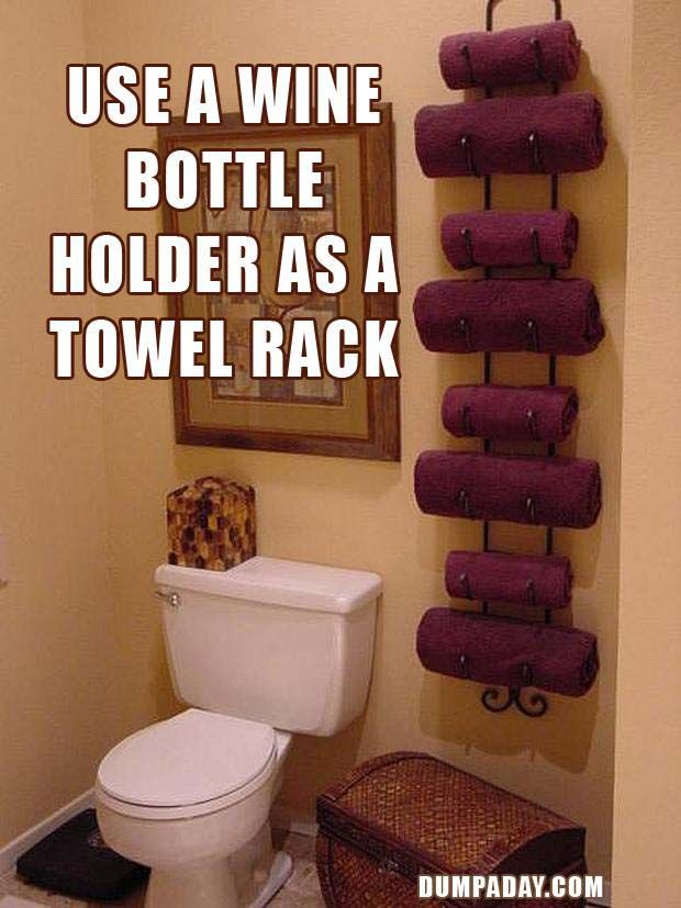 Wine Bottle Holder As Towel Rack Chest Or Nice Hamper Underneath For Dirty Towels Simple Ideas That Are Borderline Crafty 31 Pics