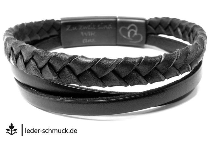 Armbänder - Armband Leder Herren | ELEGANT | schwarz 2- Gravur - ein Designerstück von LEDER-Schmuck bei DaWanda