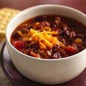 Slow-Cooker Family-Favorite Chili recipe from Betty Crocker - I use kidney beans & add jalapeños.