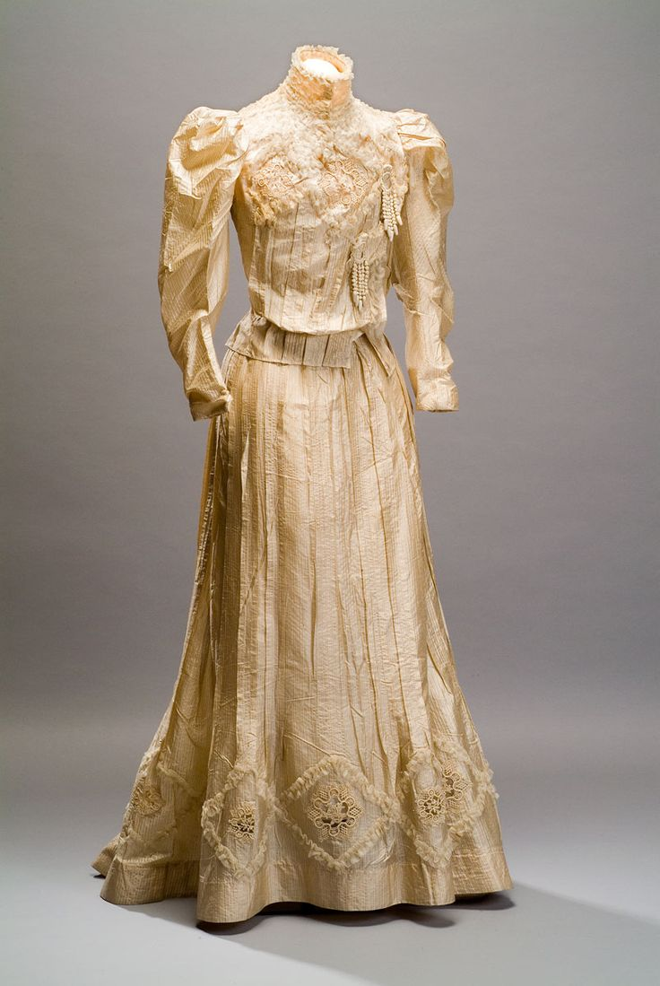 "1890s Back <a href=""http://avtotemp.info/page/gay-wedding-fashion"" class=""perelink"">Wedding</a> Dress, American. Silk, cotton, beads. Credit Line: Gift of Mrs. Ethel W. Campbell, 1953 metmuseum.org dress suzilove.com"