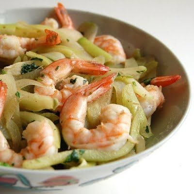 Chayote Squash Sautéed with Shrimp