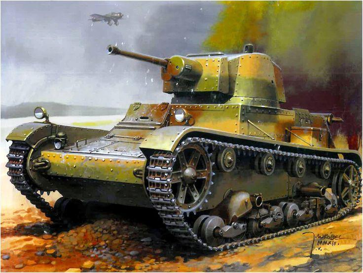 7TP – polski czołg lekki. 1 Batalion Czołgów Lekkich, Przedbórz wrzesień 1939. Rys. Jaroslaw Wróbel.(2048×1544)