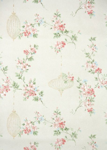 vintage wallpaper pink floral and gold lanterns