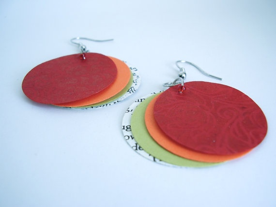 Patterned Red Paper Book Earrings Paper by SproutsPressDesigns, $5.00