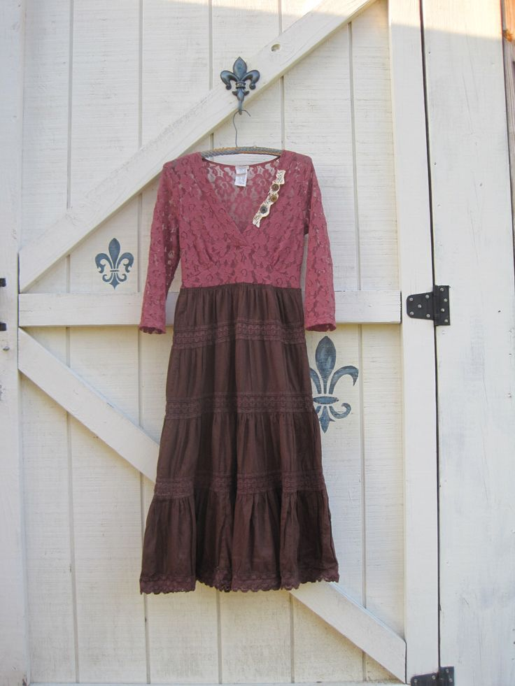 XS Long cowgirl dress, Cowgirl gypsy bohemian, Prairie dress, tiered romantic dress, XS upcycled eco fashion by ShabyVintage by ShabyVintage on Etsy https://www.etsy.com/listing/172908184/xs-long-cowgirl-dress-cowgirl-gypsy