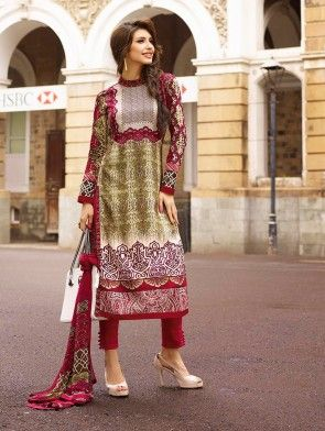 Green and Maroon Cotton Satin Printed Suit