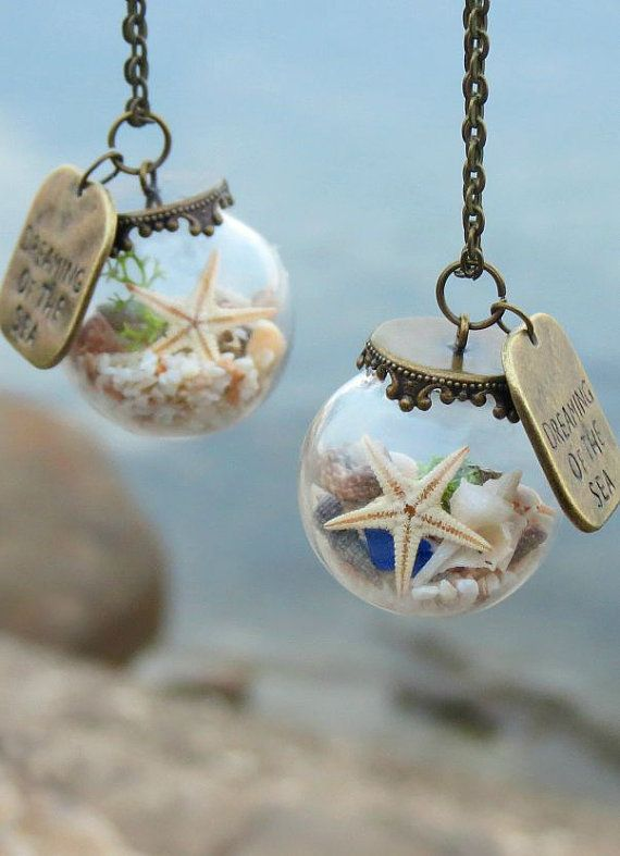 #Maristella890 Dreaming of the sea necklace, Beach necklace, Ocean necklace, Glass ball pendant,Glass globe necklace,Crystal ball necklace, Seaside jewelry