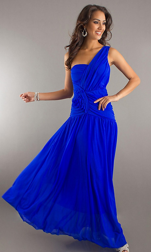 Long One Shoulder Royal Blue Dress for Bridesmaids This is georgious!