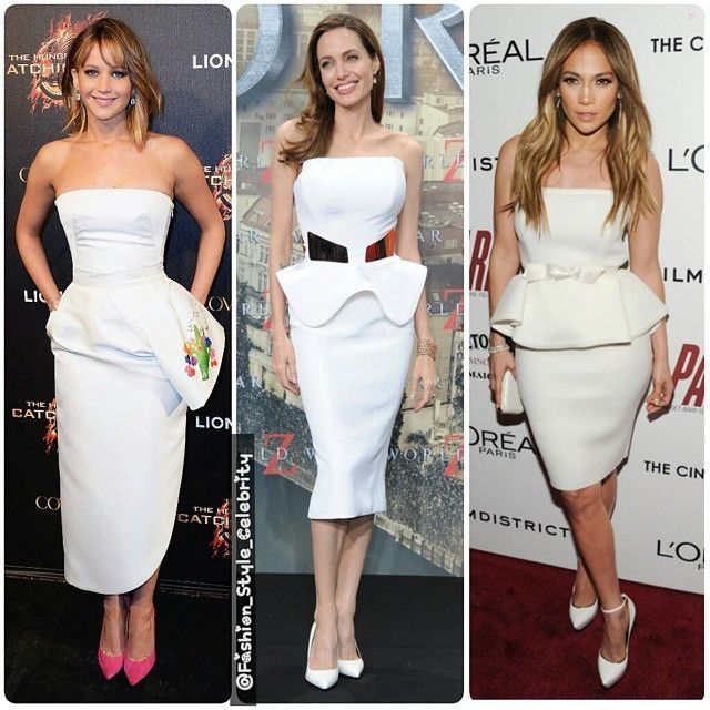 SLEEVELESS WHITE PEPLUM TOP#WhoWoreBetter?#jenniferlawrence#AngelinaJolie#JenniferLopez#peplum #peplumtop #white #fashion #style #celebrity #celebritylook  #fashionicon #beautiful #pretty #stylish #lookbook #look #ootd #outfit #heels #shoes #nofilter #girl #makeup... - Celebrity Fashion
