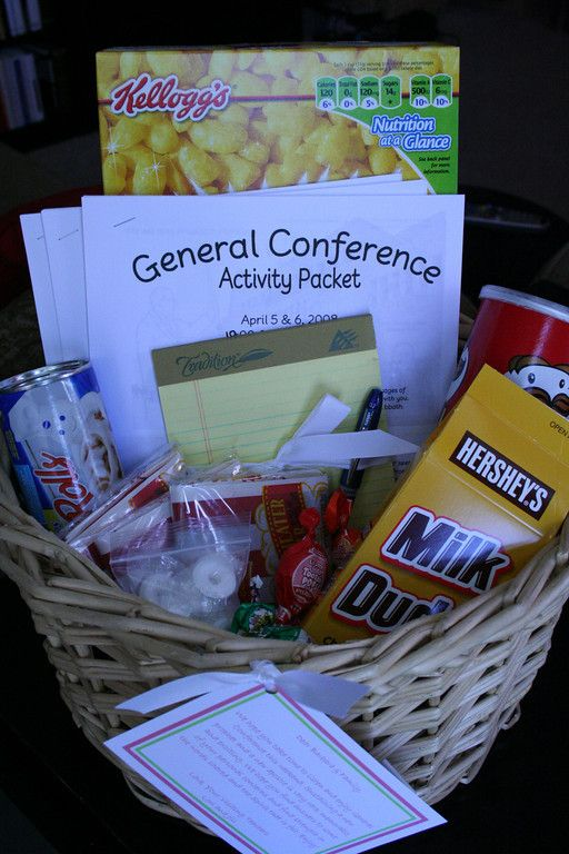 Tons of ideas for general conferenceGeneral Conference For Kids, Gift Baskets, Lds Visiting Teaching Ideas, General Conference Fhe, General Conference Ideas, Lds Conference Kids, Conference Baskets, Visit Teaching, Lds Conference Ideas For Kids