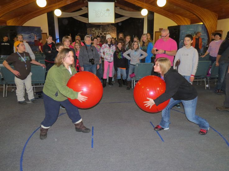 Sumo Ball- Try to get your opponent to step out of the circle by pushing them with your yoga ball. Love it!
