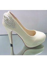 Witte hoge hakken schoenen-, bruids-schoenen, trouwschoenen, bruiloft