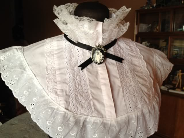 Upcycled thrift store blouse to Victorian lace collar