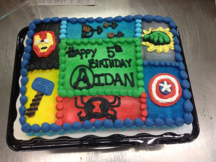 Avengers birthday cake! 1/4 sheet whipped icing.