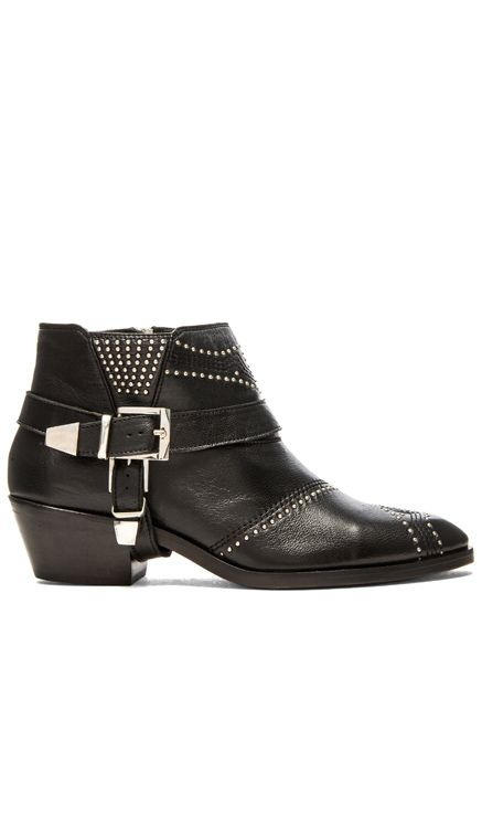 ANINE BING Studded Boots with Buckles em Preto | REVOLVE