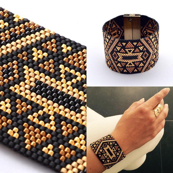 """""""Aujourd'hui, je porte la manchette AZTEK en noir et or. A retrouver sur la boutique. Bonne journée à tous ☺️ #artisticbracelet #bijoux #madeinfrance…"""""""