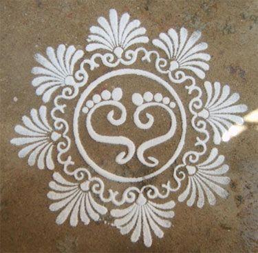 Kolam depicting the feet of Lakshmi, the Goddess of Wealth