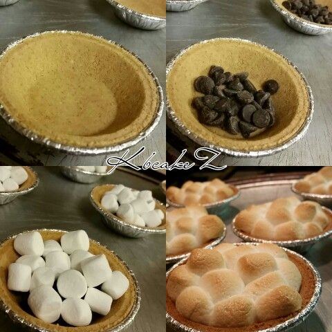 My Easy Mini Smore Pies Ingredient: -1 package Keebler mini grahm cracker pre mad crusts!(6 each) -A bag of chocolate chips! -A bag of mini marshmallows Directions: -Follow as above -Bake at 350°F, for 8 minutes or until golden brown!