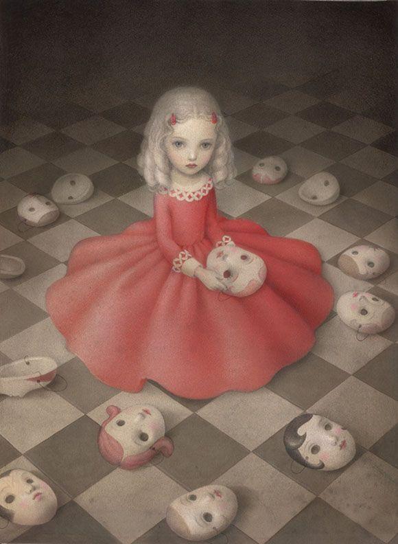 Nicoletta Ceccoli, A Girl Hides Secrets - Hide and Seek, Corey Helford Gallery